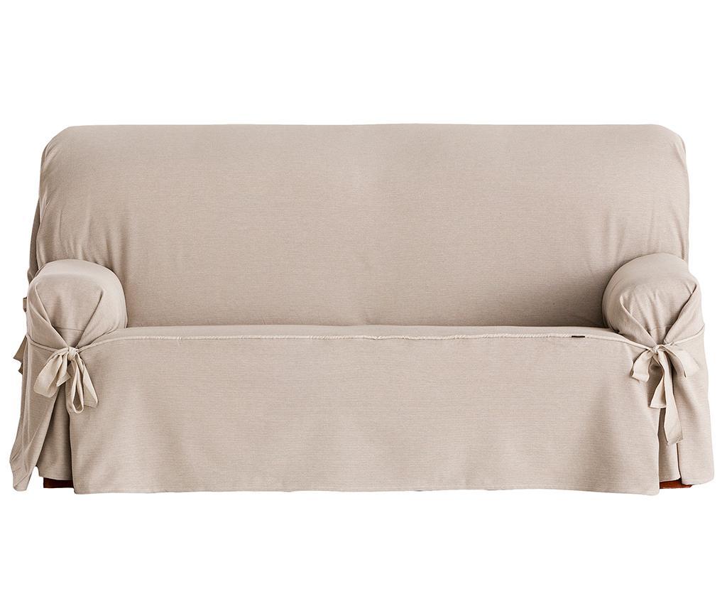 Husa ajustabila pentru canapea Constanza Linen Bows 130-160 cm - Eysa, Crem