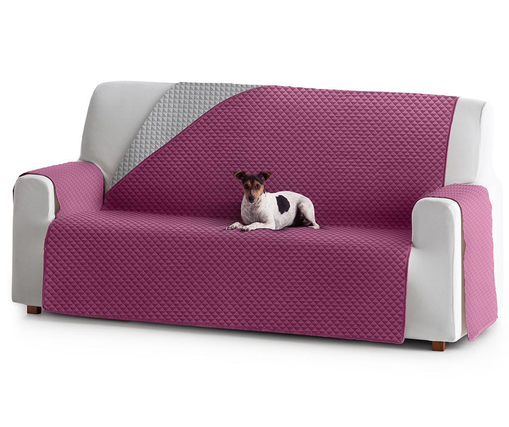 Husa matlasata pentru canapea Oslo Reverse Fuchsia & Light Grey 190 cm - Eysa, Roz