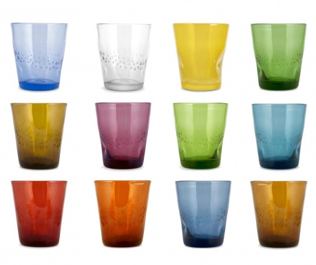 Set 12 pahare Fiji Multicolor 340 ml