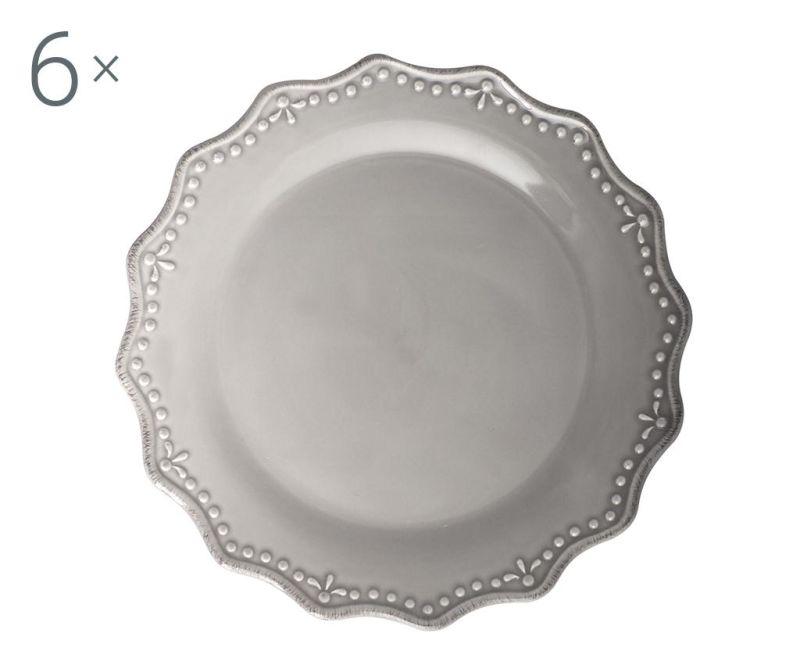 Set 6 velikih krožnikov Crown Grey