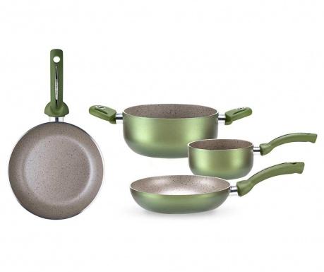 Czteroczęściowy zestaw naczyń do gotowania Uniqum Green