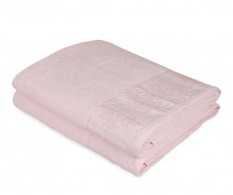 Set 2 kupaonska ručnika Buket Bordur Pink 90x150 cm