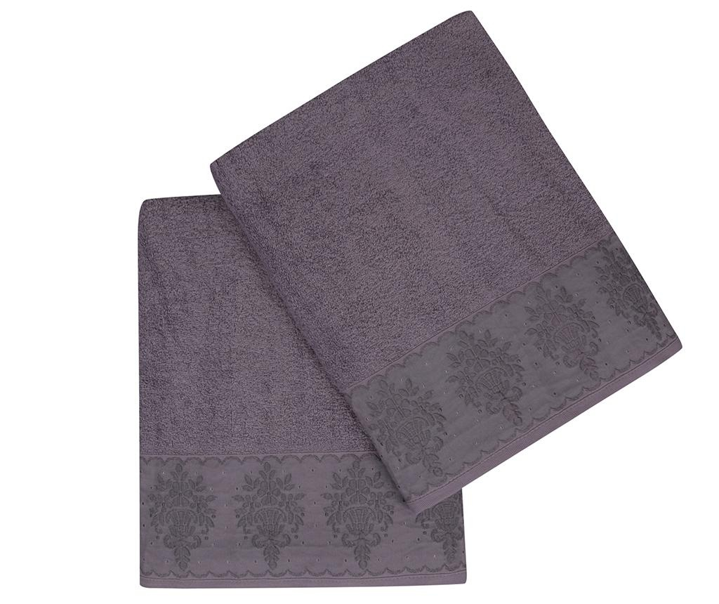 Buket Bordur Purple 2 db Fürdőszobai törölköző 90x150 cm