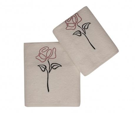 Комплект 2 кърпи за баня Baskili Ikili Takim Tasli Gul