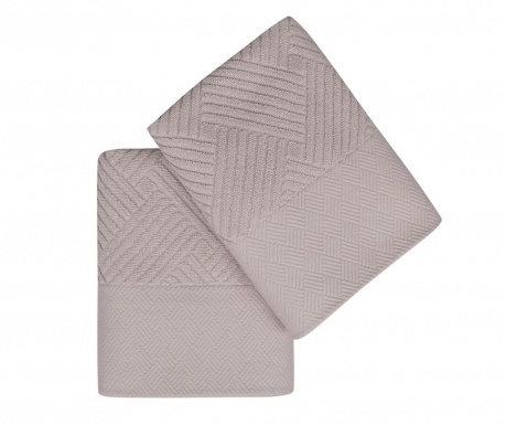 Set 2 kupaonska ručnika Esse Bordur Lilac 50x90 cm