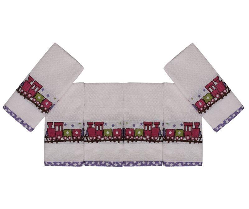 Set 6 otroških kopalniških brisač Bordurlu Beyaz Renkli Tren 30x50 cm