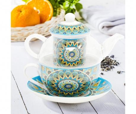 Sada čajník s infuzérem, šálek a podšálek Mandala Tribal Forest