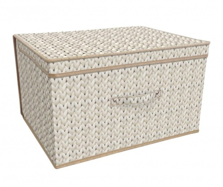 Skladacia úložná krabica s vekom Knitted Cream
