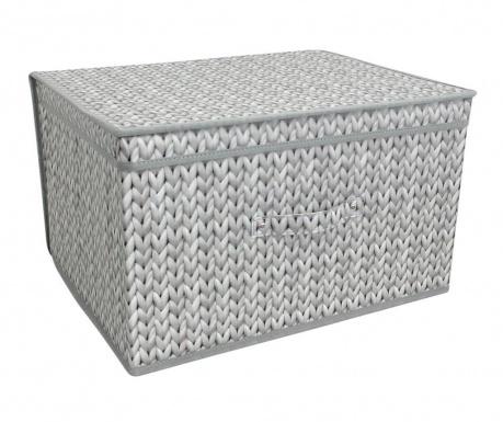 Skladacia úložná krabica s vekom Knitted Grey