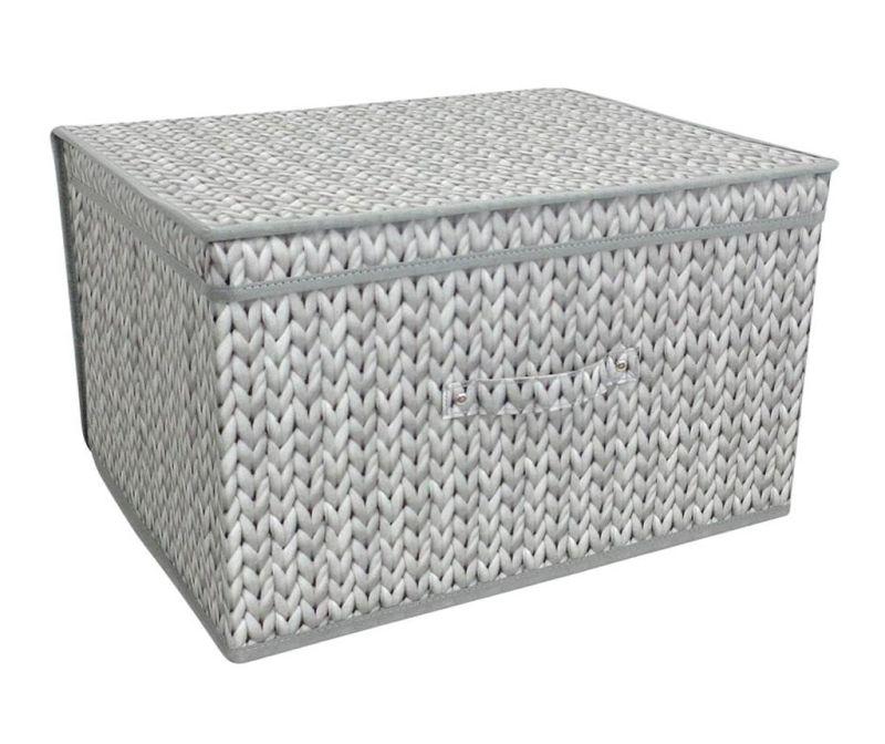 Sklopiva kutija za pohranu sa poklopcem Knitted Grey