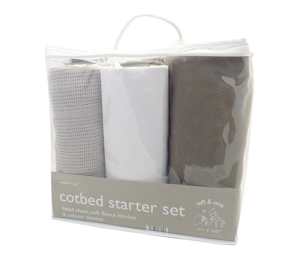 Set 2 paturi si cearsaf de patut cu elastic Elli And Raff Fleece Grey White