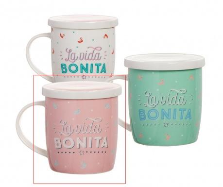 Kubek z pokrywką i zaparzaczem Bonita Pink