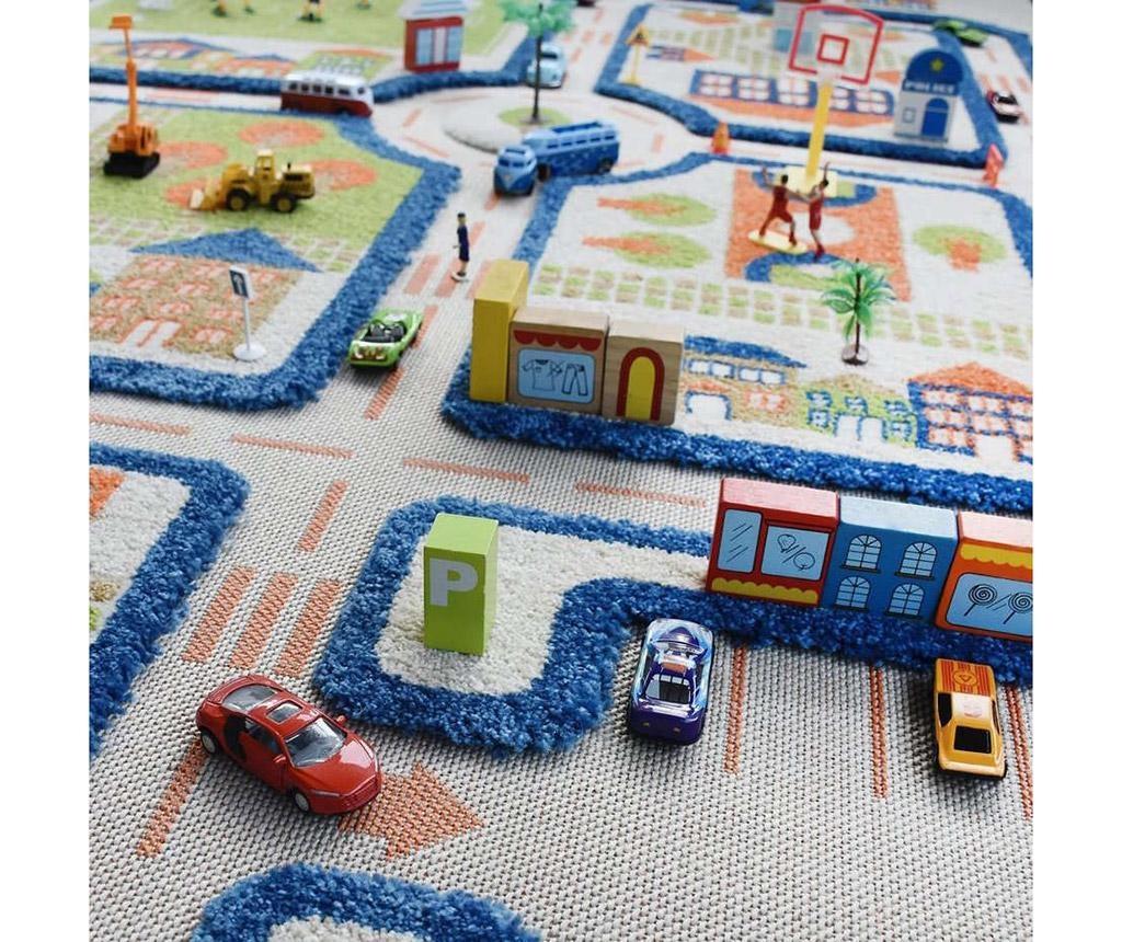 Covor de joaca Traffic Middle 3D Blue 100x150 cm