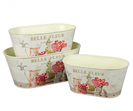 Sada 3 žardiniéry Belle Fleur