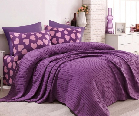 Posteljnina Double Pique Parikalpli Purple