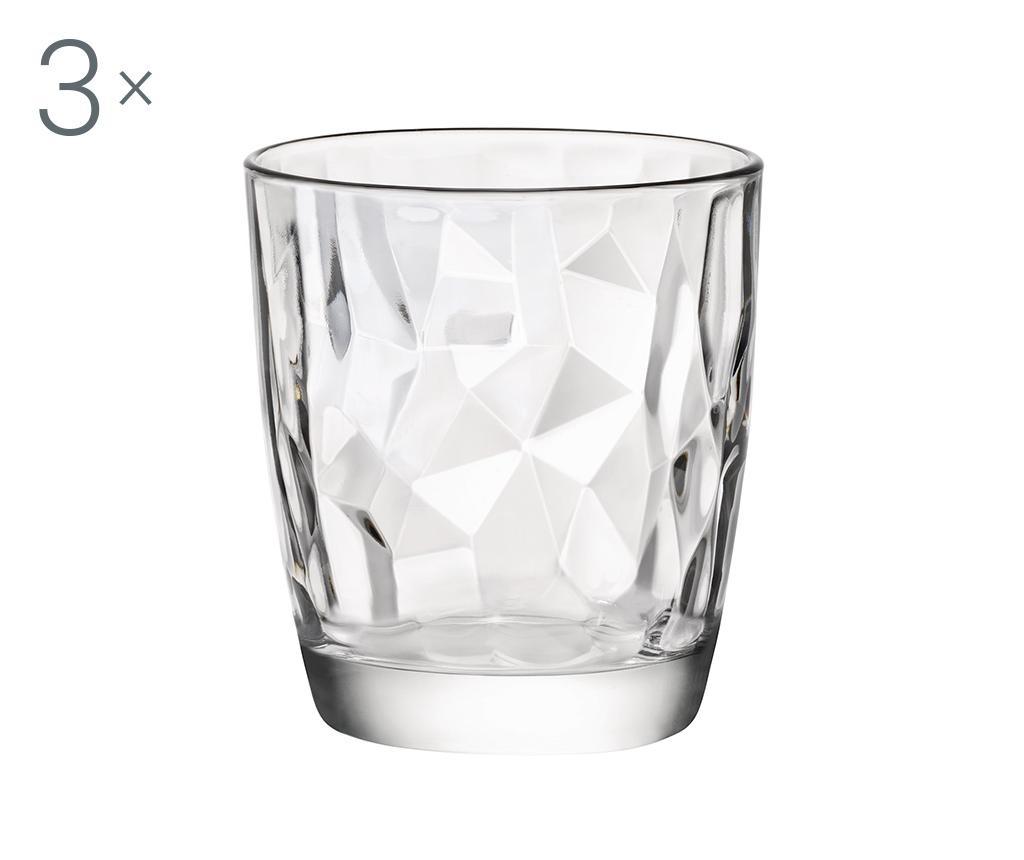 Set 3 pahare Diamond Clear 300 ml