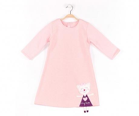 Rochie cu maneca lunga pentru copii Cat Pink 8 ani