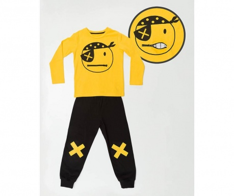Set bluza si pantaloni pentru copii Pirate Emoji 5 ani