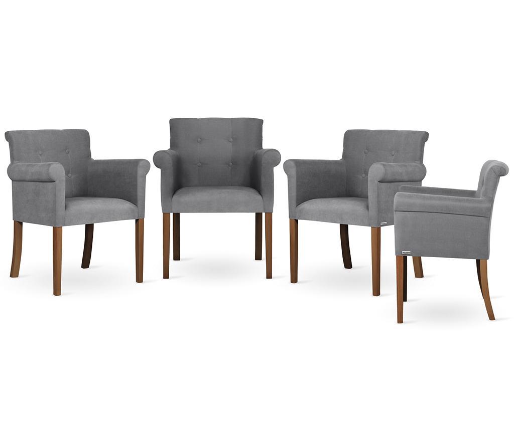 Set 4 scaune Flacon Brown Grey - Ted Lapidus Maison, Gri & Argintiu