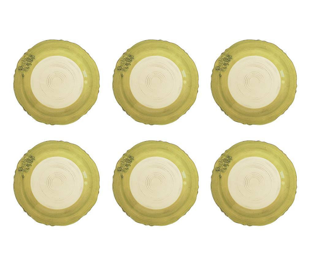 Set 6 farfurii intinse Golden Branch - Bolzonella, Galben & Auriu