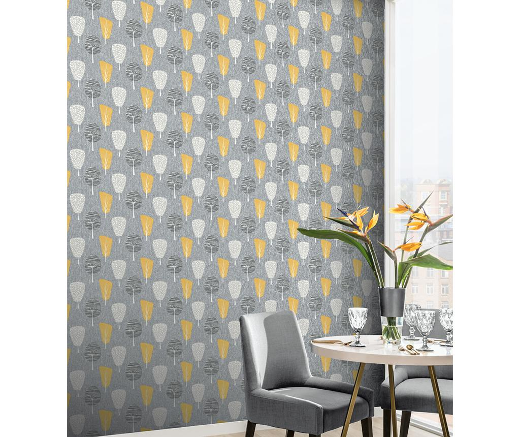 Tapet Retro Tree Ochre 53x1005 cm - Arthouse, Galben & Auriu
