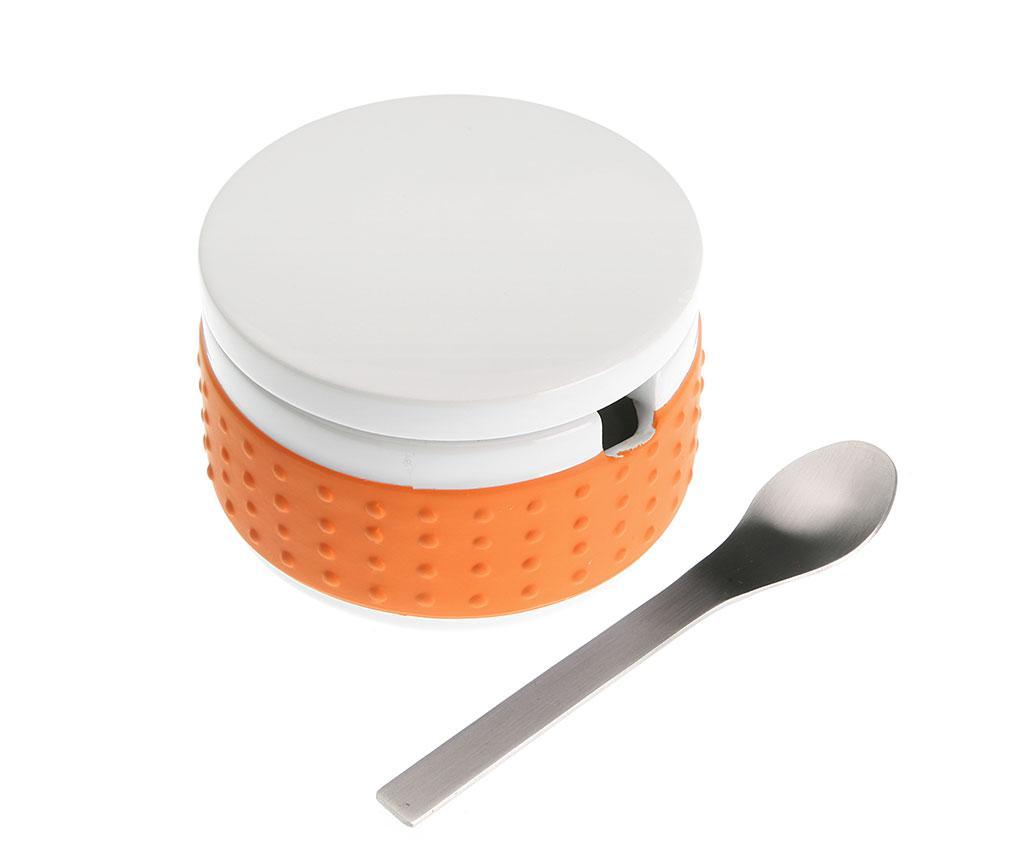 Zaharnita cu capac si lingurita Saffron Orange - Versa, Portocaliu