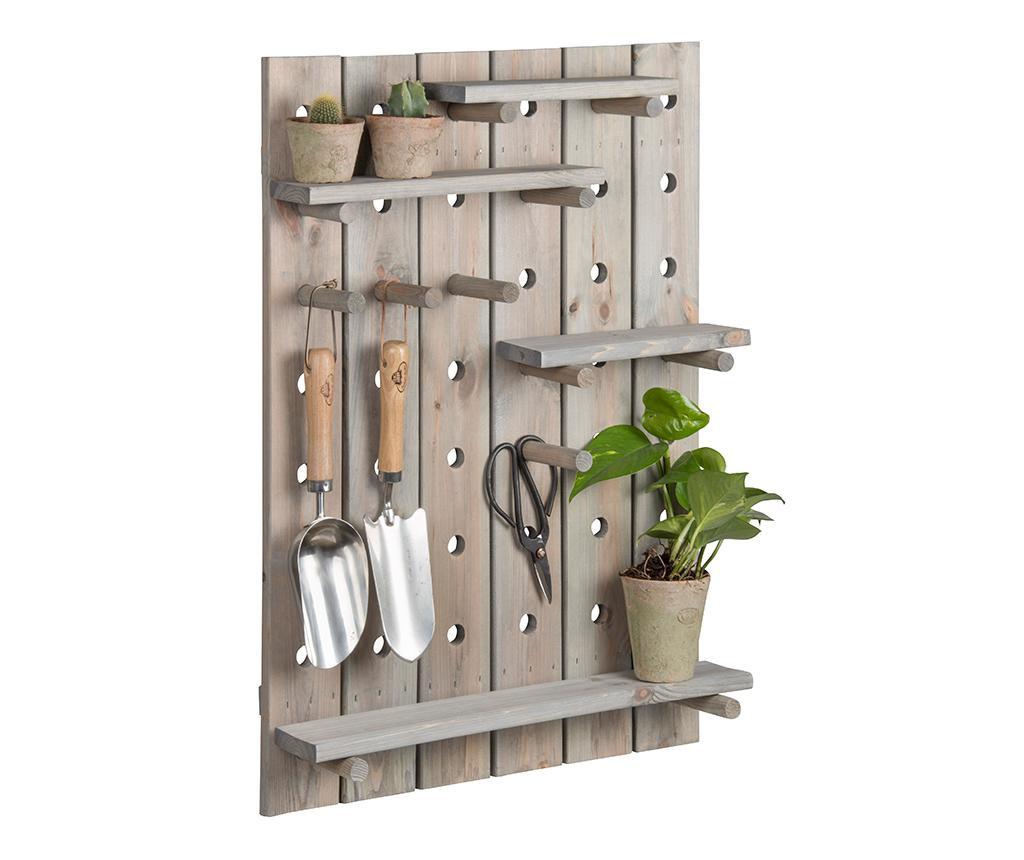 Suport de perete pentru accesorii de gradinarit Pepper - Esschert Design, Gri & Argintiu