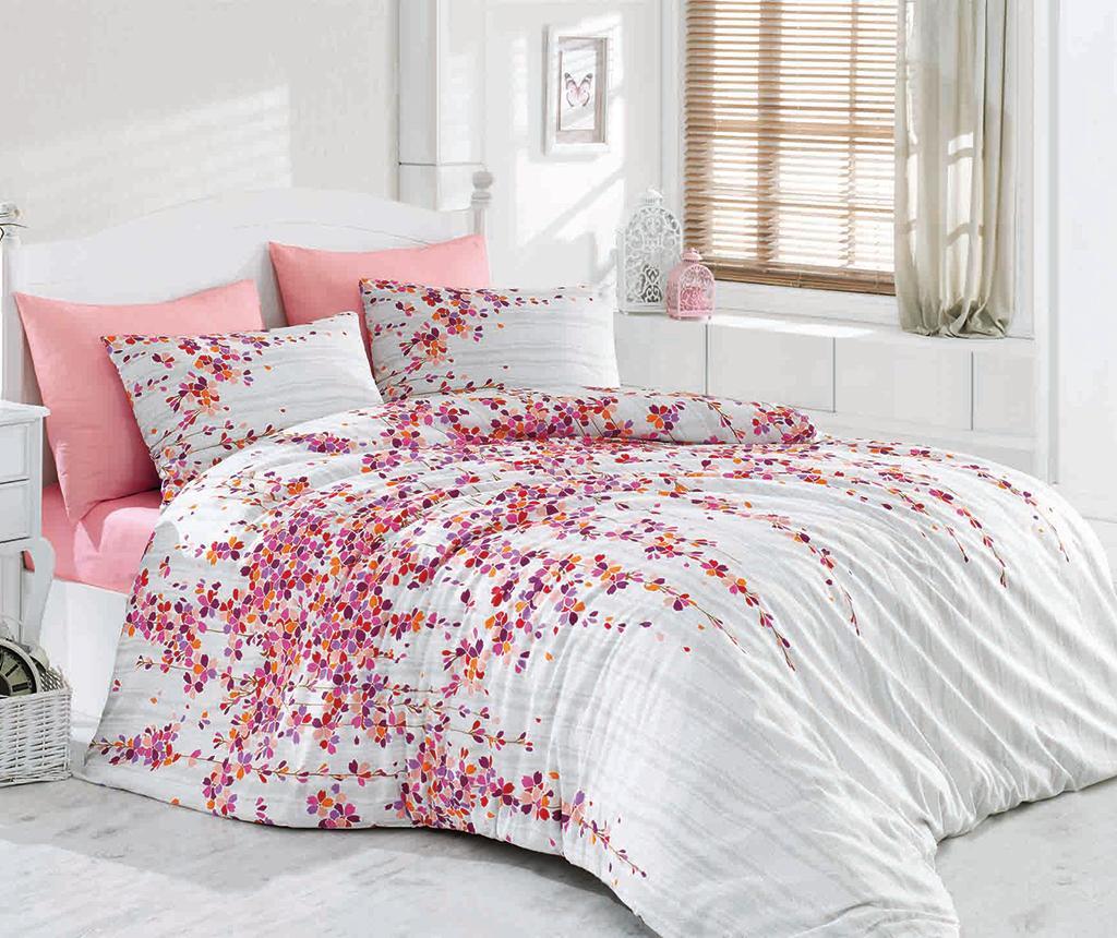 Lenjerie de pat King Ranforce Time Pink - Majoli Bahar Home Collection, Roz