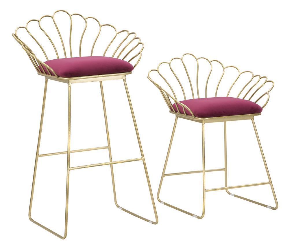 Set 2 scaune de bar Glam Flower Bordeaux - Mauro Ferretti, Rosu