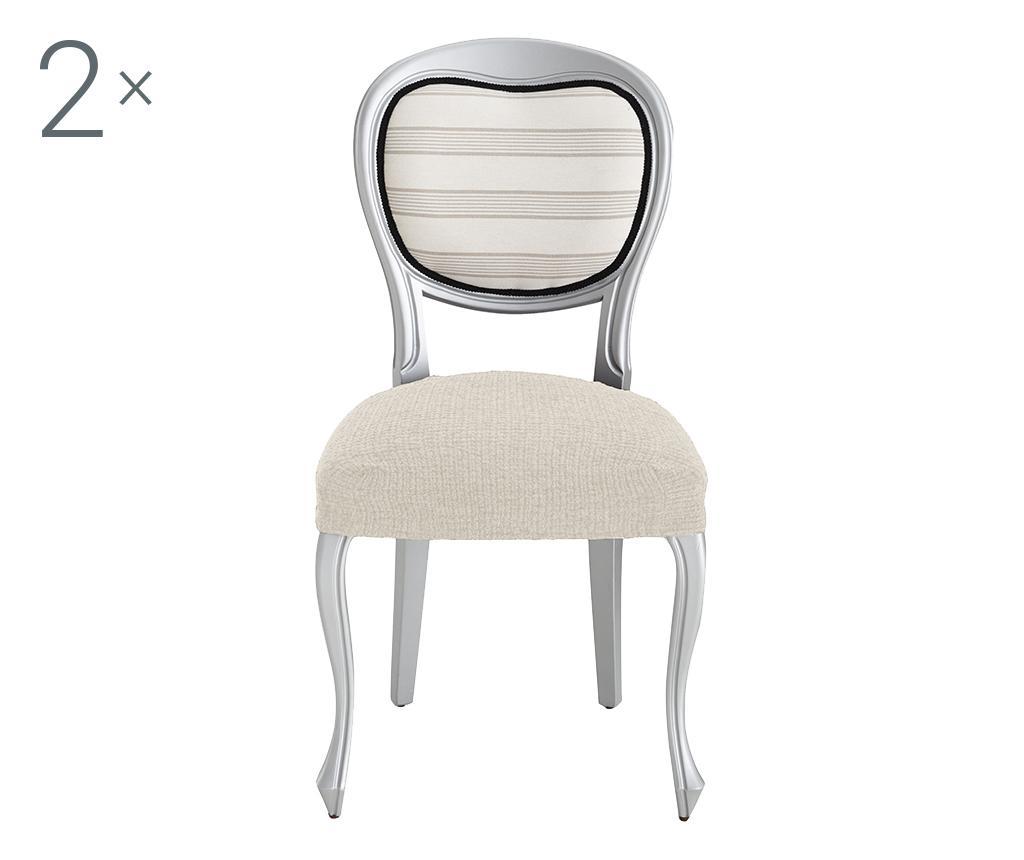 Set 2 huse elastice pentru scaun Dorian Ecru Backless - Eysa, Crem
