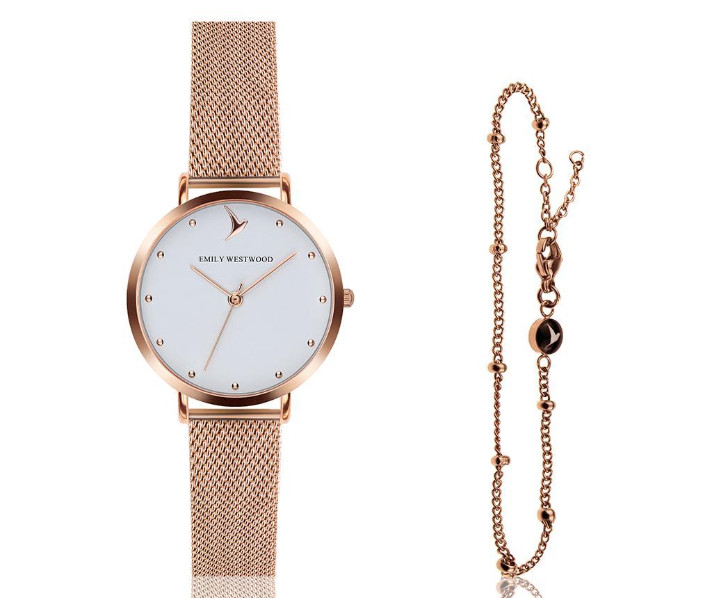 Set ceas de mana dama si bratara Emily Westwood Aura Glam Miriam Rose - Emily Westwood, Roz