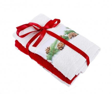 Zestaw 3 ręczników kąpielowych Snowman White 30x50 cm