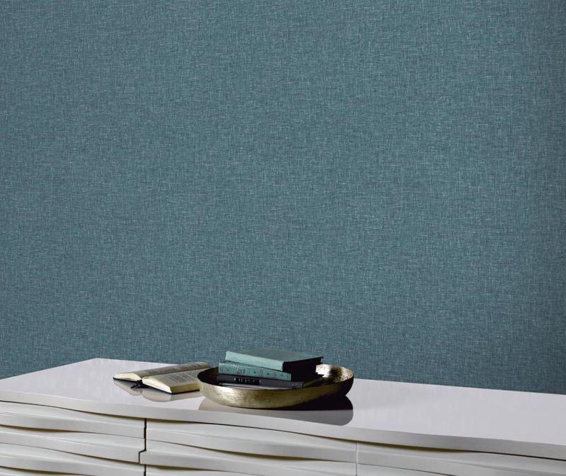 Linen Texture Teal Tapéta 53x1005 cm
