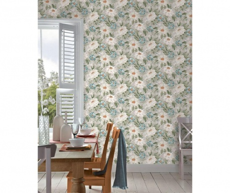 Tapeta Painted Dahlia Green Multi 53x1005 cm