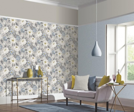 Tapeta Painted Dahlia Grey Multi 53x1005 cm