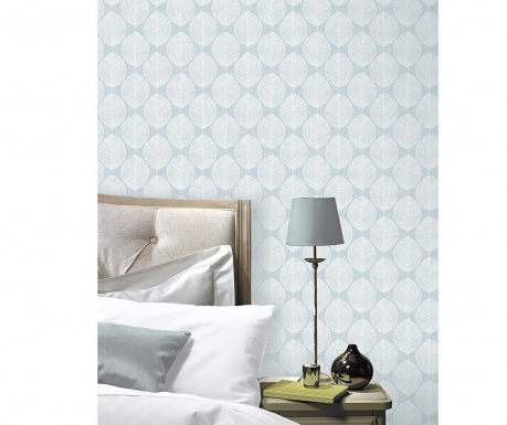 Tapeta Scandi Leaf Teal 53x1005 cm