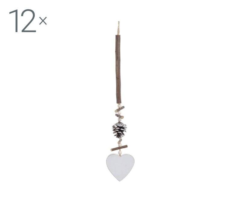 Set 12 decoratiuni suspendabile Christmas Heart
