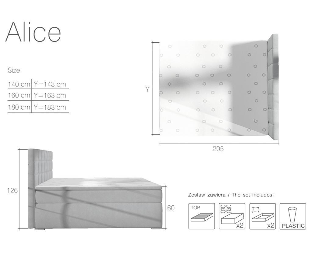 Alice Light Grey Boxspring ágy 180x200 cm