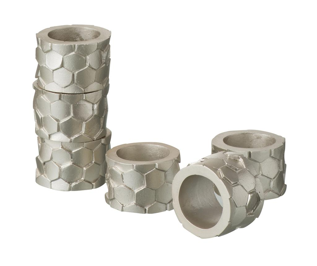 Set 6 inele pentru servete Delmar - J-line, Gri & Argintiu