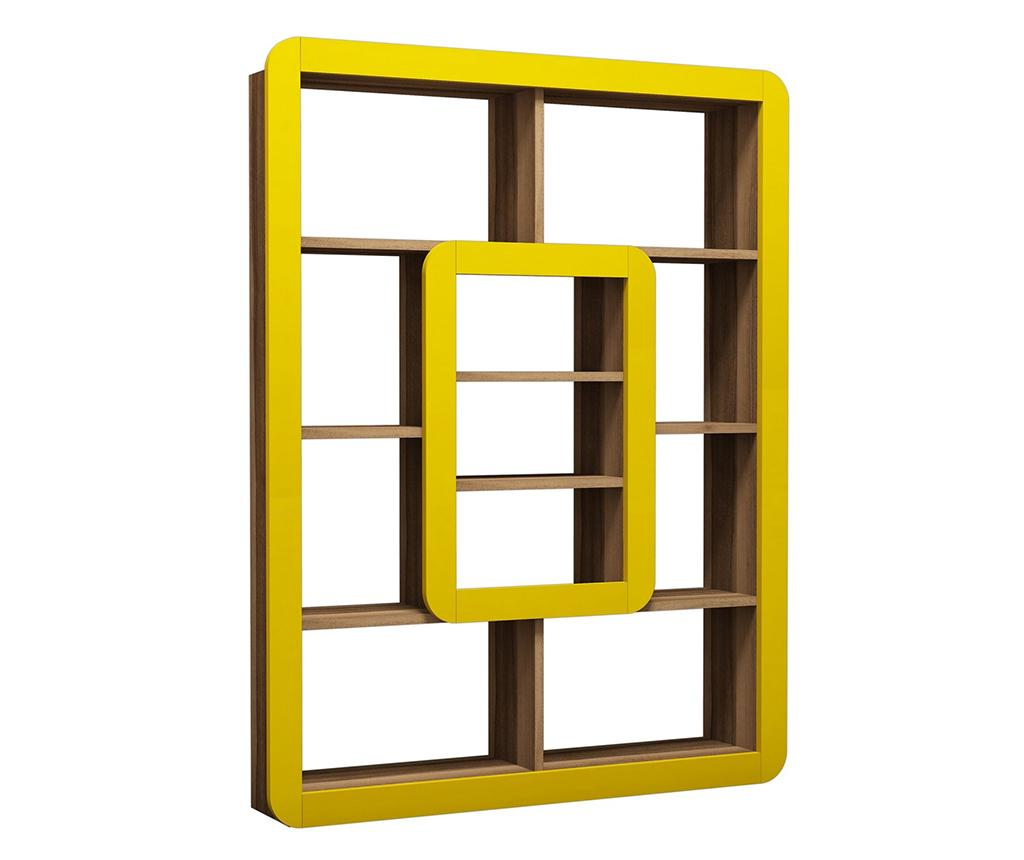 Corp biblioteca Orkide Walnut Yellow - Hommy Craft, Galben & Auriu