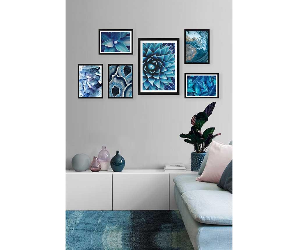 Set 6 tablouri Wild Blue - Tablo Center, Albastru