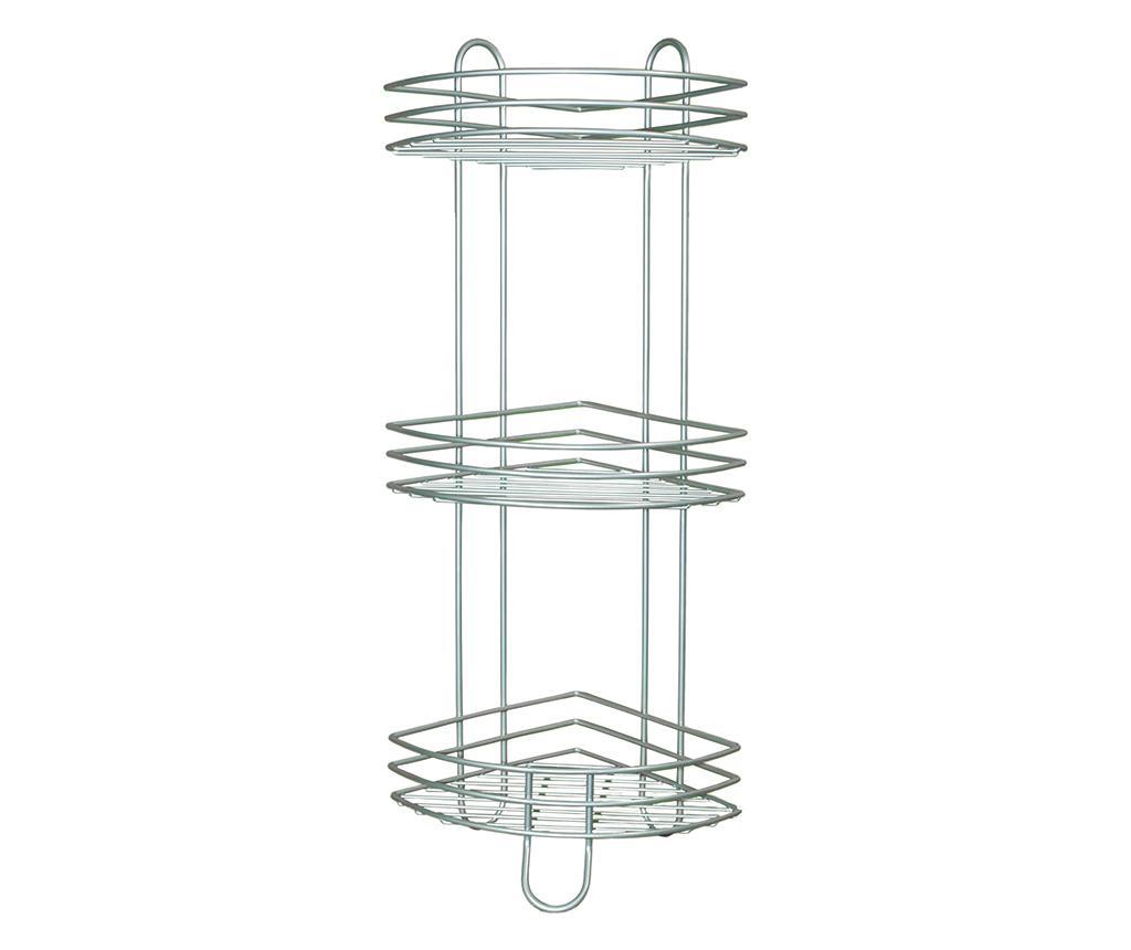 Etajera de colt Bathroom Three - Rayen, Gri & Argintiu