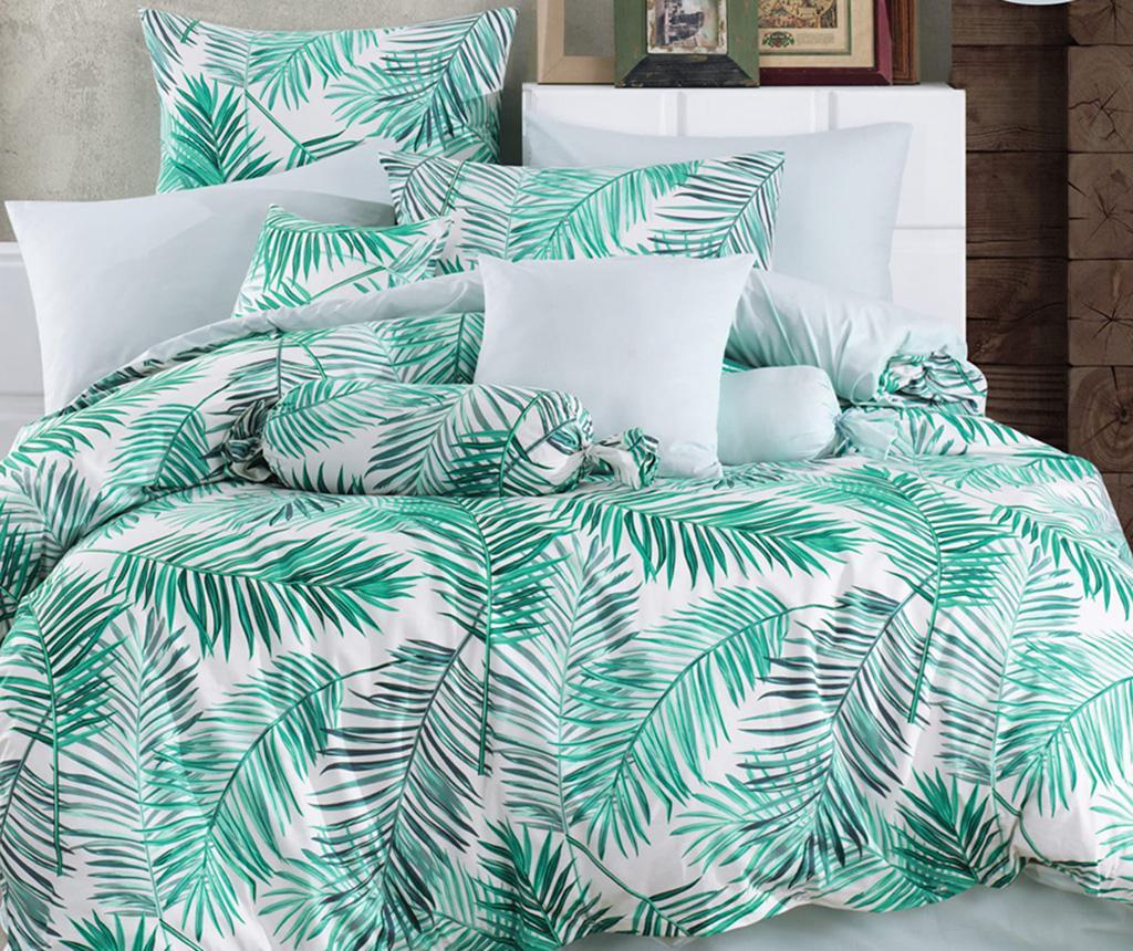 Lenjerie de pat King Ranforce Palms Green 200x220 - Majoli Bahar Home Collection, Verde