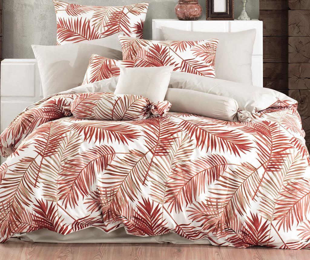 Lenjerie de pat King Ranforce Palms Orange - Majoli Bahar Home Collection, Portocaliu imagine 2021