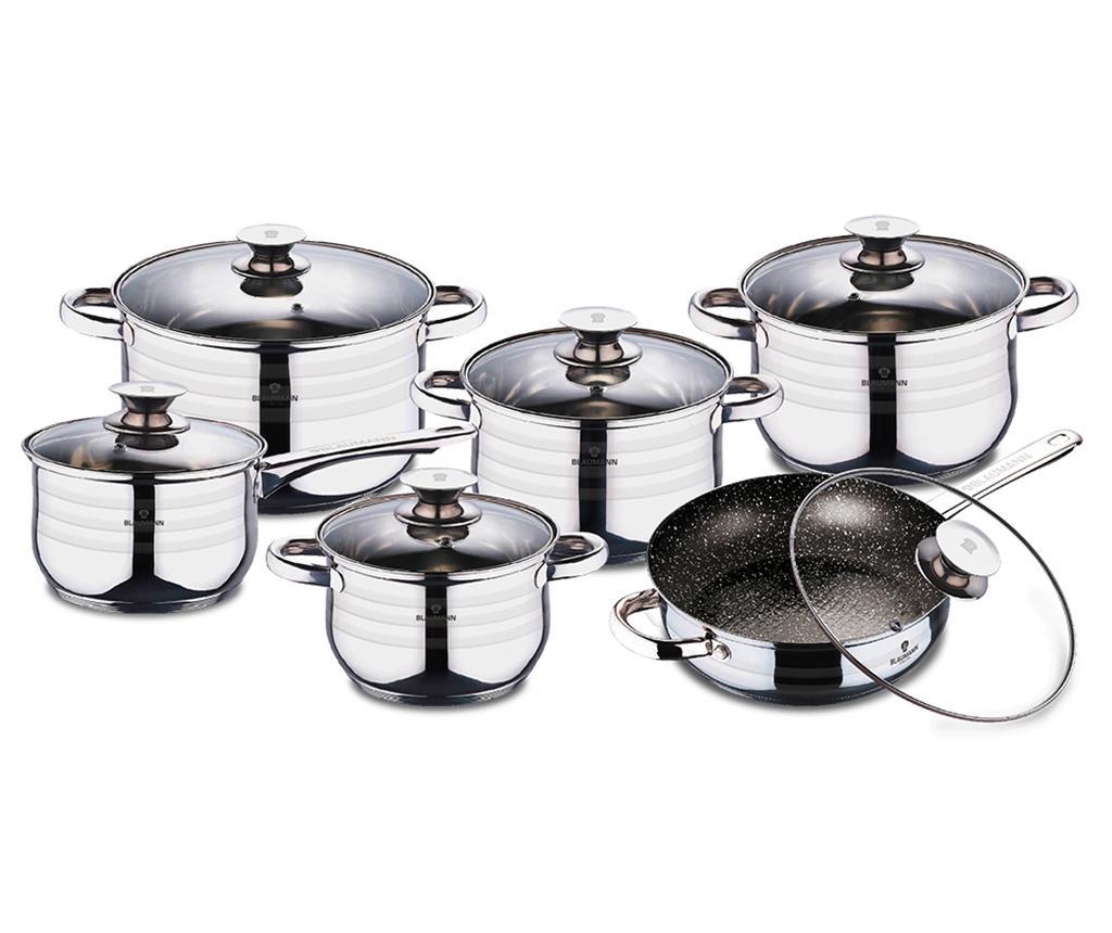 Set vase pentru gatit 12 piese Gourmet - Blaumann, Gri & Argintiu