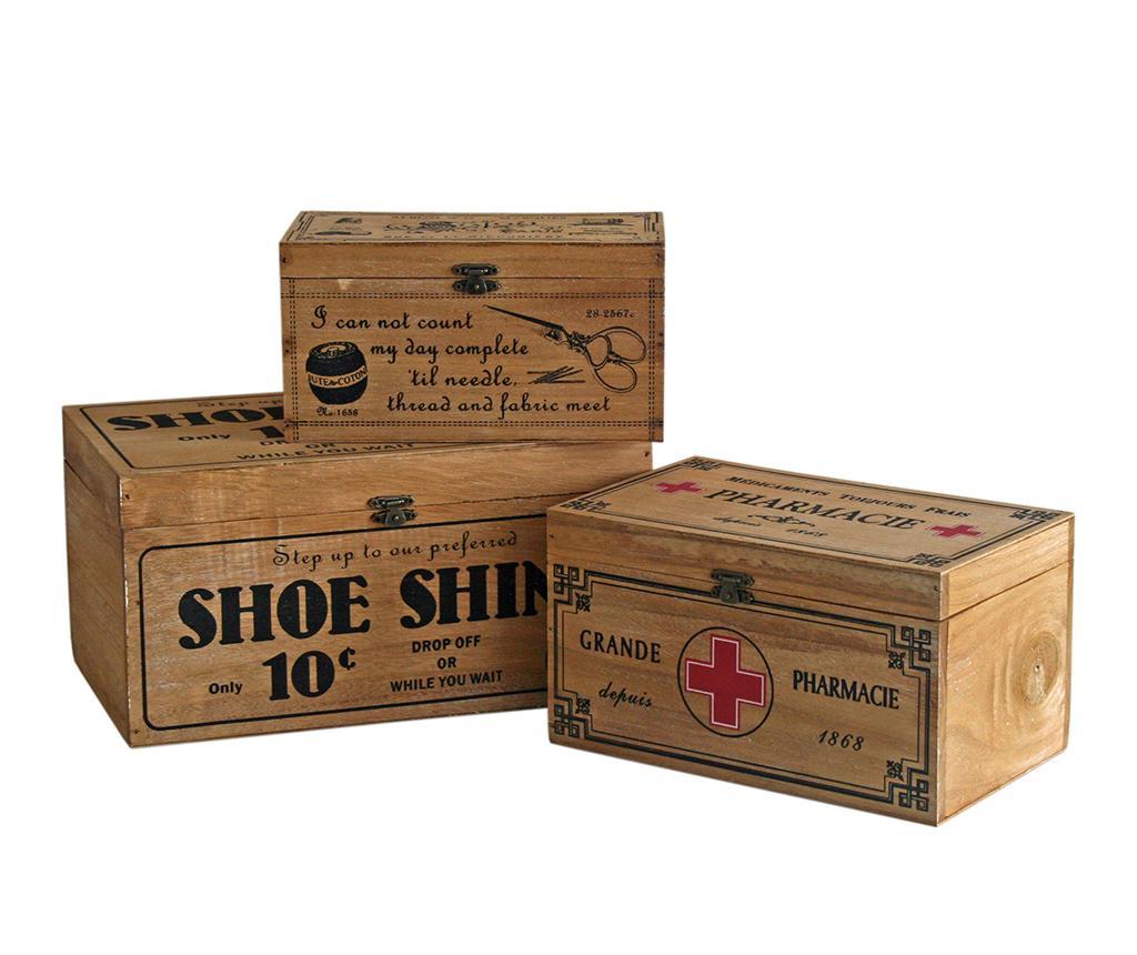 Set 3 cutii cu capac Sinope - Originals, Maro