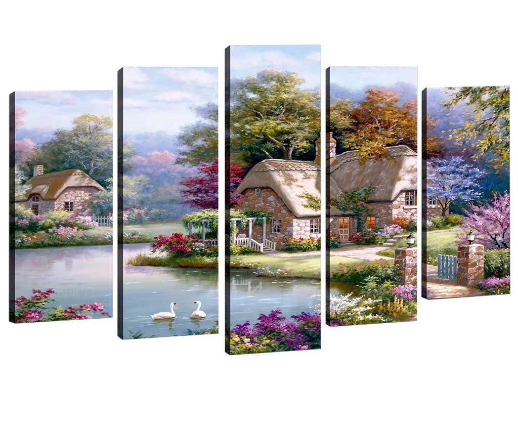 Set 5 tablouri House by the River - Tablo Center, Multicolor de la Tablo Center