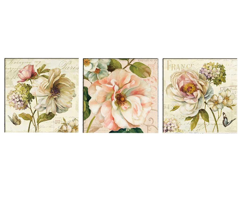 Set 3 tablouri Vintage Flowers 30x30 cm - Tablo Center, Roz