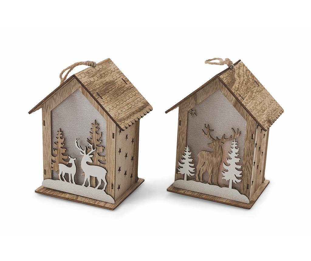 Foto Set Decoratiuni Luminoase Suspendabile Reindeers In The Woods