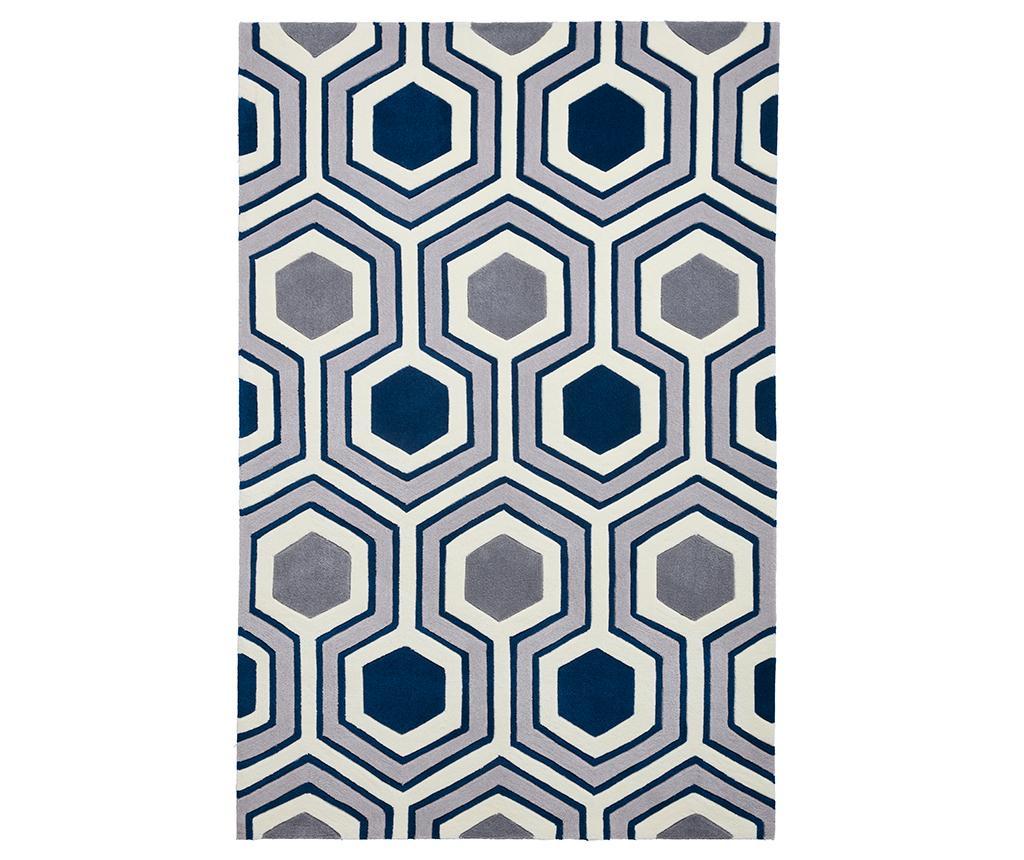 Covor Hong Kong Lina Grey and Navy 120x170 cm - Think Rugs, Albastru,Gri & Argintiu